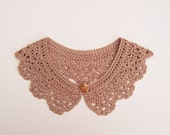 Cappuccino Crochet Peter Pan Collar, Cotton Detachable Lace Accessory