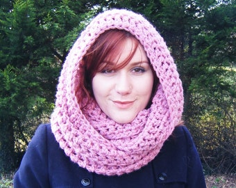 Pink Oversized Endless Scarf Chunky Crochet