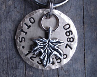 Pet Tag, Dog ID Tag, Dog Tags, Autumn Maple Leaf Charm