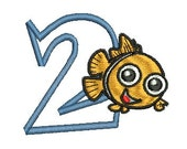 Nemo Embroidery, Nemo Birthday, Embroidery Applique, Birthday design, (128) Instant Download