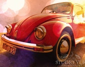 VW Bug Volkswagen Beetle Photo - Red VW Car - Fine Art Photography - Original Signed Art 8x11.5 - Red Ruby