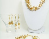 Ivory, Gold and Champagne Necklace, Bracelet, and Earrings set, Bridal Jewelry, Custom Set, Bridesmaids Gift, Wedding Necklace