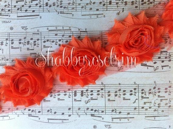 1 Yard Orange Chiffon Flower Shabby Rose Trim
