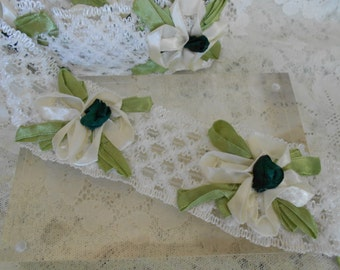 White and Light Green Floral Ribbon Trim