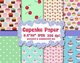 "Digital Paper: Cupcakes   8 digital 8.5""x11"" JPEG sheets   no 082"