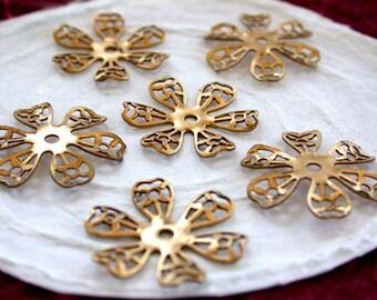 Brass Flower Stampings, Metal Stamped Flowers, Vintage Style Metal Flowers STA-075