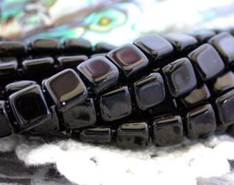 1 Strand ~ 50 Pieces 6mm CzechMates Glass Tile Beads, Two Hole Glass Beads, Jet Black, czech mate tile beads  CZ-185