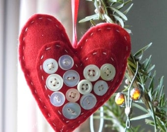 Hand stitched red felt heart ornaments