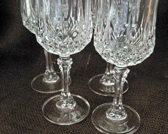Vintage Cristal D'Arques Longchamp Footed Wine Goblets