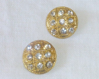 Rhinestone Faux Diamond Clear Glass Gold Tone Buttons for Sewing Jewelry Earrings Art Supplys