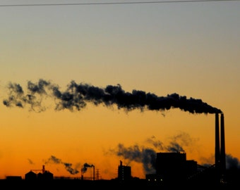 """North Dakota No.7 - Power Plant Landscape Unframed 11""""x17"""" Color Photographic Print by hrCarlson"""