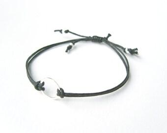 Black Eternity Bracelet, Black String Bracelet, Eternal Friendship Bracelet, Valentines Jewelry, UK Seller