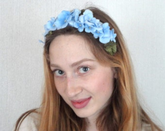 Blue Flower Hair Band, Head Crown, Lana Del Rey Style for Weddings and Festivals, Vintage Flowers, Bridal Head Piece, Blue Fascinator