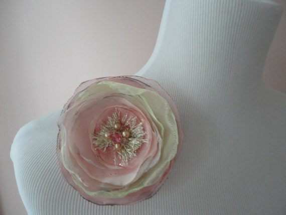 Pink Pearl and Crystal Flower Statement Brooch