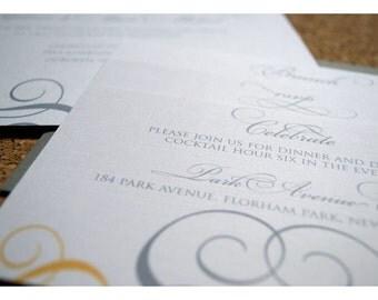 Romantic Scroll and Filigree Wedding Invite - Swirl Filigree Wedding Invitation - Romantic Scroll Design Wedding Invites