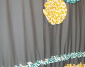 Window Panel Curtain Custom Made Designer Fabric Ruffles, Flowers Gray, White, Teal, Aqua, Turquoise Yellow Chevron Zig Zag Damask