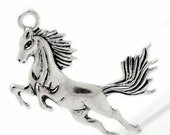 Horse Charms Silver Antique I51x43mm 3pcs- Ships IMMEDIATELY from California - SC633