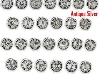 Antique Silver Alphabet Letter Charm Pendant 18x18mm - PICK 3  - Ships IMMEDIATELY from California - SC524