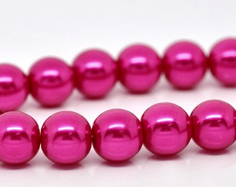 80 Fuchsia Pearl Beads -  10mm - 1 Strand -  Ships IMMEDIATELY  from California - B511a