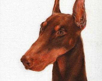 Original Oil Dog Portrait Painting DOBERMAN Artwork Art from Artist Signed Puppy