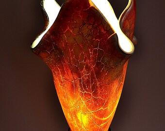 Modern Crackle Fused Glass Tabe Lamp- Zodiac Dragon