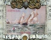Shabby White Nautical Beach Cottage Chic Home Decor Repurposed Vintage Beachy Sea Regatta Sailing Ship Anchor Ocean Print
