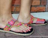 Womens Sandal In Ethnic Hmong Rainbow Embroidery Flat  Toe Wrap Style Vegan - Athena