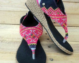 Abbie Vegan Womens Wedge Sandals In Colorful Pink Hmong Embroidery and Washed Batik - Abbie