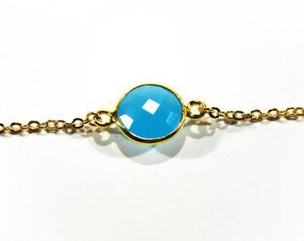 Blue Chalcedony Necklace Gemstone Pendant Jewelry