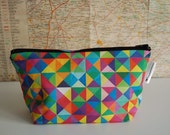 Own fabric design - handmade cotton linen zip purse - make up bag - pencil case