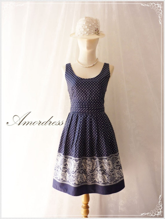 Dress Blue Navy Lace Polka Dot Printed Cotton Dress Vintage Inspired Back Bow Classic and Cute Dress