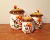 Vintage 1978 Sears & Roebuck Mushroom Canister Set of 3