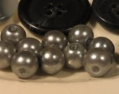 10 Grey Pearls and 11 Button Collection, 8mm Glass Pearls, Buttons are 20 -25mm, You get all  Pearls and Buttons pictured.
