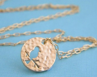 Gold Bird Silhouette Charm Necklace