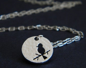 Tiny Silver Bird Silhouette Charm Necklace