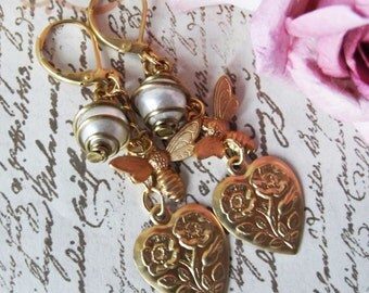 Vintage Caged Faux Pearl, Bee and Textured Heart Dangle Earrings