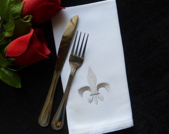 Set of 6 Cloth Cotton Embroidred Dinner Napkins- FLEUR DE LIS Silver