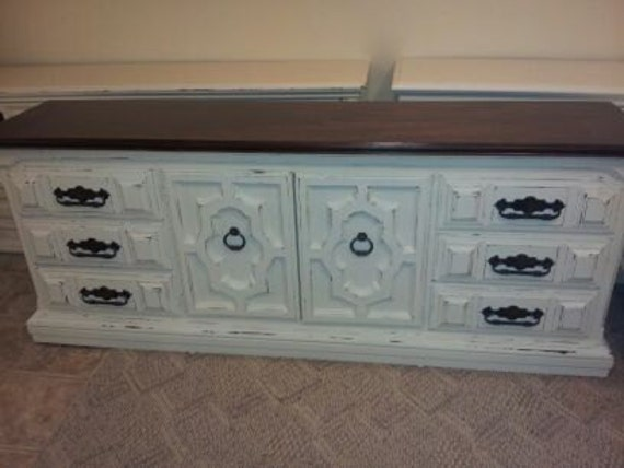 Distresssed TV console Buffet Credenza Dresser Shabby Chic Cottage Chic Media console