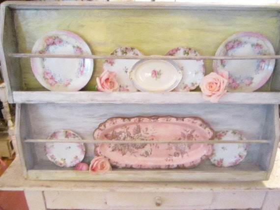 chippy shabby chic  vintage farmhouse  white plate shelf
