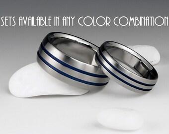 Titanium Ring Set - Wedding Set - His and Hers - Beveled Edges - Two Blue Pinstripes