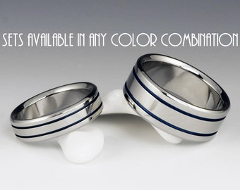 His and Hers Wedding Set, Titanium Ring Set, Matching Ring Set, Titanium Band, Mens Ring, Womens Ring, Anniversary Ring Set, Promise Rings
