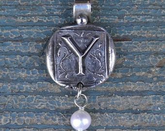 Silver Y Initial Pendant