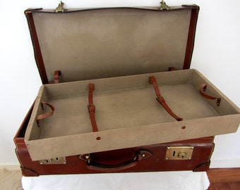 Large Antique French Leather Suitcase Brass Fittings