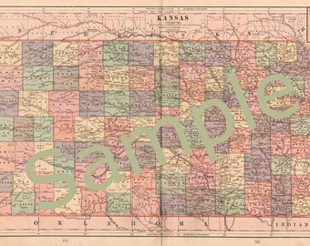 Printable Kansas State Map Instant Digital Download 1880s Color Map, Vintage Kansas Map, Kansas County Map, Home Library Decor