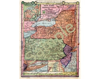 Printable Map of New York, Pennsylvania, New Jersey, Instant Download, 1880s Color Art, Antique Map, Home Library Artwork