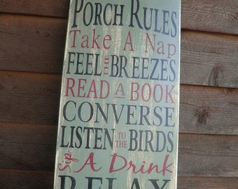 Porch Rules, wood sign, Patio Rules sign outside decor, distressed sign, primitive decor, wall hanging, shabby chic