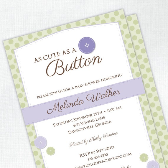 cute as a button baby shower invitation baby girl baby shower invite
