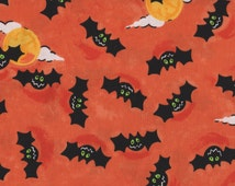 Halloween, Bats, A Haunt We Will Go by Blank Quilting, Bat Fabric, Halloween Fabric, Orange Fabric, 01123