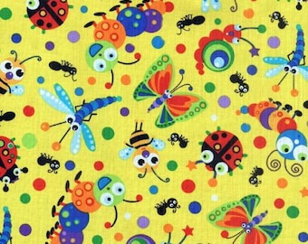 Bee Fabric, Bug Fabric, Caterpillar  Fabric, Yellow Fabric, Bugalicious by Blank Quilting, 1 yard fabric, 01275