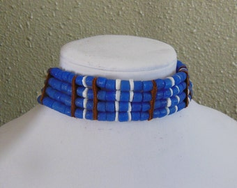 Blue African Sandcast Recycled Glass Bead Choker with White Shell Heishi and Bone Hair Pipe Beads